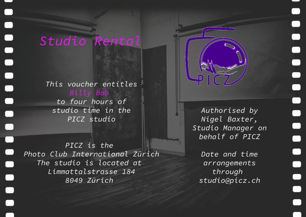 PICZ Studio rental voucher